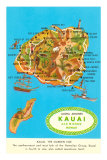 Map of Kauai, Hawaii Prints