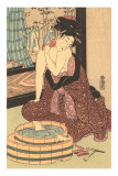 Japanese Woodblock, Lady at Bath Pósters