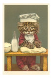 Kitten Making Bread Print