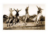 Cowgirls Standing on Horses Poster