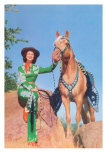 Cowgirl in Green Outfit with Palomino Poster