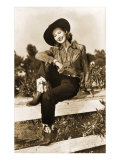 Cowgirl on Fence Poster