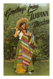 Greetings from Tijuana, Senorita in Sarape Print