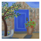 Blue Door with Lemon Tree Giclee Print by Mary Stubberfield