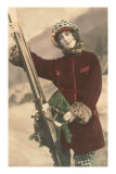 Lady with Skis Posters