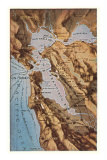 Relief Map of Bay Area, San Francisco, California Art Print