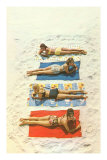 Four Girls on Beach Towels Posters