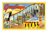 Greetings from Galveston, Texas Poster