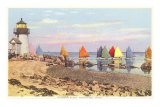 Boats with Colored Sails, Nantucket, Massachusetts Photo