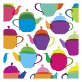 Retro Teapots Giclee Print by Louise Cunningham
