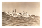 Long Board Surfers off California Posters