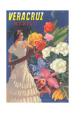 Senorita with Flowers, Veracruz, Poster
