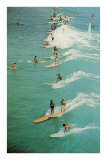 Surfing with Longboards Prints
