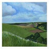 Summer Fields on the South Downs Giclee Print by Mary Stubberfield