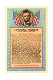 Lincoln with Text of Gettysburg Address Prints