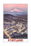 Poster of Mt. Hood over Portland, Oregon Affiche