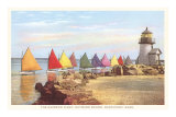 Boats with Colored Sails, Nantucket, Massachusetts Prints