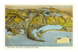 Relief Map of San Diego, California, Poster