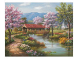 Covered Bridge in Spring Prints by Sung Kim