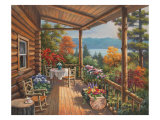 Log Cabin Covered Porch Prints by Sung Kim