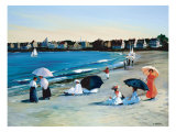 Beach Umbrellas Giclee Print by Sally Caldwell-Fisher