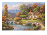 Cottage Stream Premium Giclee Print by Sung Kim