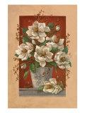 Magnolias En Rouge Premium Giclee Print by Janet Kruskamp