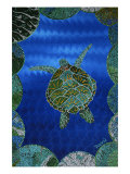Turtle on Blue Premium Giclee Print