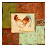 Patchwork Rooster II Art by Jennifer Sosik