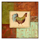 Patchwork Rooster IV Prints by Jennifer Sosik