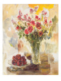 Red Roses in Crystal Vase Premium Giclee Print by  Yona