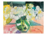 White Bouquet on Pink Table Prints by Maret Hensick