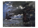 A Seascape, Shipping by Moonlight Giclee Print by Claude Monet