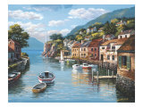 Village on the Water Premium Giclee Print by Sung Kim