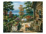 Log Cabin Porch Print by Sung Kim
