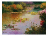 Water Lillies in Giverny Premium Giclee Print by Karen Dupré