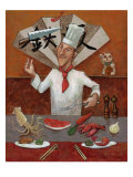 Teppan, Japanese Chef Giclee Print by John Howard