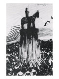 Agitated Crowd Surrounding a High Equestrian Monument Giclee Print by Umberto Boccioni
