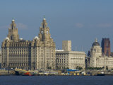 Thethree Graces and Cathedral from the River Mersey Ferry, Liverpool, Merseyside, England, UK Photographic Print by Charles Bowman