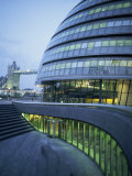 New City Hall and Tower Bridge at Dusk, London, England, United Kingdom, Europe Photographic Print by Charles Bowman