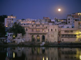 Moonlit View of Gangaur Ghat, with Old City Gateway, Udaipur, Rajasthan State, India Photographic Print by Richard Ashworth