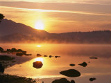 Mist Rising on Derwent Water at Sunrise, Lake District National Park, Cumbria, England, UK Photographic Print by Nigel Blythe