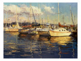 Boats on Glassy Harbor Reproduction proc&#233;d&#233; gicl&#233;e par Furtesen 
