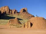 Male and Female Hogans, Earth Built Dwellings, Monument Valley, Utah, USA Photographic Print by Nigel Callow