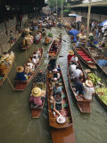 Tourist Boats on the Klong at the Floating Market at Nakhon Pratom in Thailand, Southeast Asia Photographic Print by Charcrit Boonsom