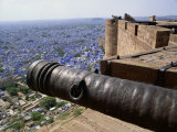 Old Cannon and View over Old City from Fort, Jodhpur, Rajasthan State, India Photographic Print by Richard Ashworth