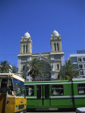 Cathedral with Bus and Tram in Foreground, Tunis, Tunisia, North Africa, Africa Photographic Print by Nelly Boyd