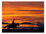 Ropin' at Sunset Print by Bobbie Goodrich