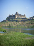 View of Nrising Dev Palace across Karna Sagar Lake, Datia, Madhya Pradesh State, India Photographic Print by Richard Ashworth