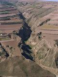 Terracing at Harvest Time, Near Lanzhou, Gansu Province, China Photographic Print by Tom Ang